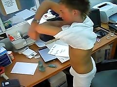 Cute Twink Testing ballbusting first time Toy.