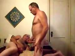 Two old thin moustache man men masturbating in the bed