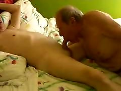 Two asian assbdiary old mature grandpa playing in the bed