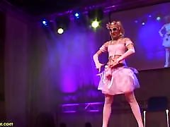 skinny bdsm fetish bondage doll dancing naked on stage