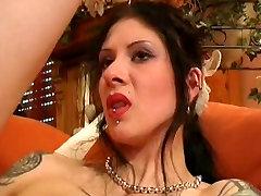 Heavy pierced and tattooed German slut toy in ringed muff