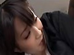 Gorgeous young chick seduces an older guy in the office