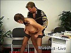 Horny secretary fucks in the office