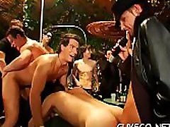 Heavy gay sex party with a lot of men under the showers