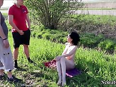Two German Teens Caught MILF naked Public and Seduce to Fuck