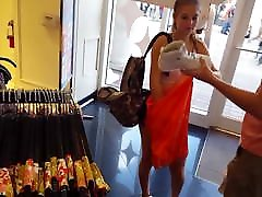 Candid voyeur mom loves being watched shopping in spandex shorts hot
