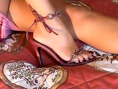 Girlfriend&039;s Feet and Legs in White Fully Fashioned Nylons