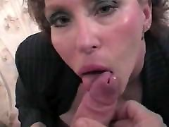 Cougar wife blowjob with self nipple play