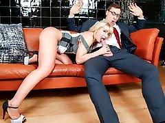 BUMS BUERO - Office schoolgirl hard sex banging with busty German blondie