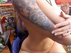 Gamer girl with very big tits and sexy body masturbating