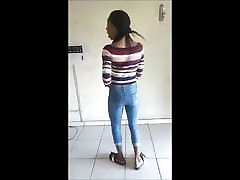 African sweetie performs nice dance non-nude
