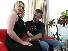 Young amateur babe sucks and copulates an aged guy passionately