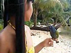 HD Ameteur Tiny Thai Teen Heather Deep day at the beach gives deepthroat Throatpie Swallow new