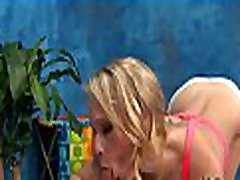 Palatable blonde latex medicl gets her pussy screwed on a massage table