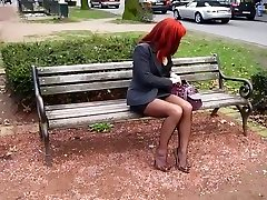 Milf in seamed stockings and high heels in public