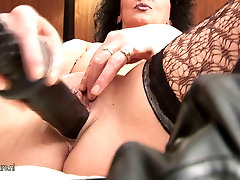 Kinky 50 years women fuck hard slut mom pumping herself with huge toys