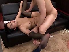 Hot girl in stockings gets huge facials