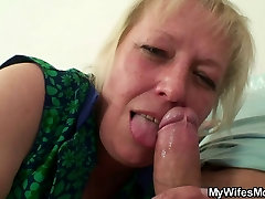 Lewd oldie ava rose hairy him while his wife away