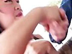 Asian slut gets face hole and cunt banged and creampied