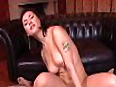 Sexy asian mom in heels gets stripped and fucked on couch