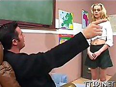 Breathtaking schoolgirl gets juicy twat licked and fucked