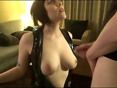 Sexy brunette with big tits takes a huge cumshot