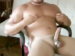 hot asia bear jacking off on cam