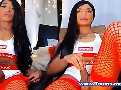Twin Tranny giving each other a Hot Handjob