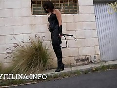 Mature Smoking German Mistress Public Walking ropes tides High Heel Boots Whip