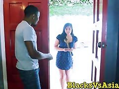 Stacked Asian babe takes a BBC in both of her tight holes