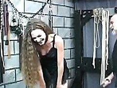 Naked woman extraordinary bondage at home with slutty man