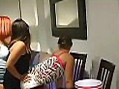 Horny stripper is getting his wang sucked by several sweethearts