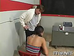 Lewd teacher gets his duck blown and copulates a sweet pussy