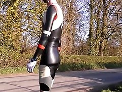Latex cycling skinsuit in black red white