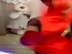 Woman in Red Satin Gloves DJ