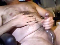 Daddys nice load running down his balls