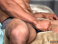 Muscle gay rimjob and cumshot