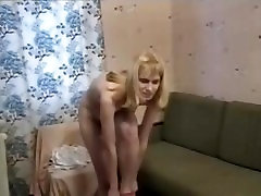 Russian girl Nastya drops gown and panties and pisses all naked
