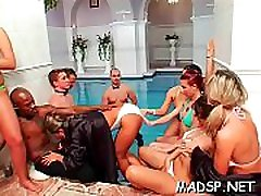 Dissolute group gets into a joyous sex party with creamy finish
