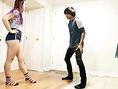 huge cock nadia ali girl - Teen Girl Kicks Balls HARD in Short Shorts