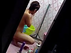 sectretly recording while girl nude and wasing her panty