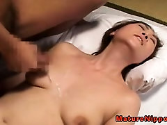 Mature milf getting cumshot on tits