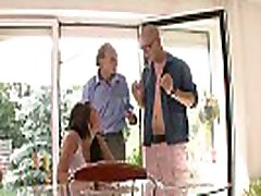 Old husband watching his young studentesse modello gets banged