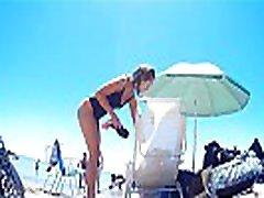Hot freen tube on beach