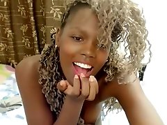 Ebony teen fuck her self ass and pussy