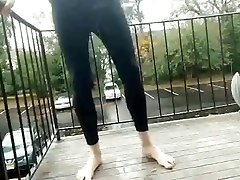 Pissing black tights