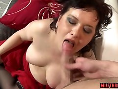 Brunette massive throw of pussy juice titty fuck with cum in mouth