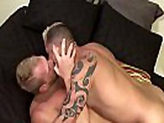Muscled hunk rides dick