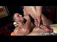 Cute twink gets a lusty massage from stylish adorable femdom guy