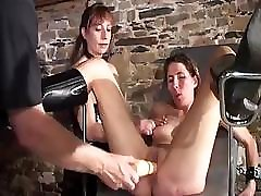 Nasty experimenting mistress conducts unusual sexual practices on these fellows